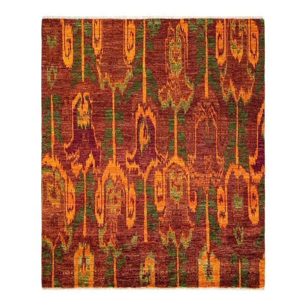 """Modern, One-of-a-Kind Hand-Knotted Area Rug - Red, 7' 10"""" x 7' 10"""" - 7' 10"""" x 7' 10"""". Opens flyout."""