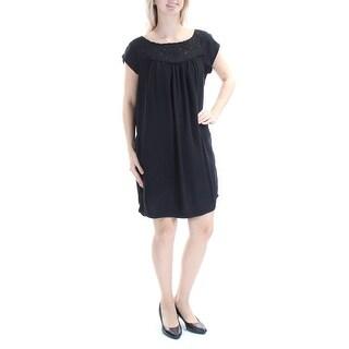 JOIE $258 Womens New 1024 Black Pleated Eyelet Short Sleeve Dress S B+B