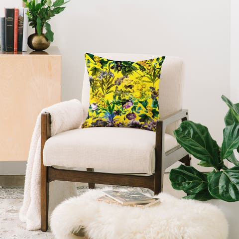 Deny Designs Yellow Jungle Reversible Throw Pillow (4 Size Options)