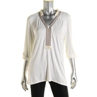 K&C Womens Fringe Boho Peasant Top