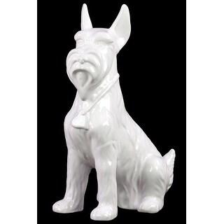 Sitting Scottish Terrier Dog Figurine In Ceramic, White