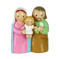 "3"" Mary, Joseph and Baby Jesus Colorful One Piece Embraced Holy Family Figure - Brown"