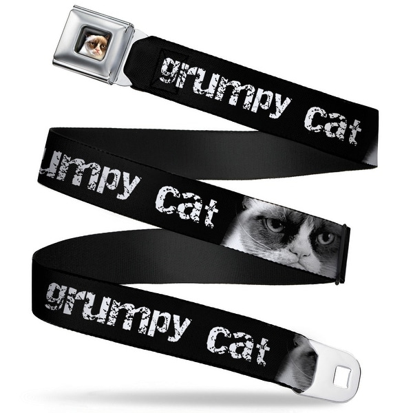 Grumpy Cat Face Full Color Black Grumpy Cat W Face Close Up Black White Seatbelt Belt
