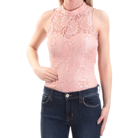 Womens Pink Sleeveless Turtle Neck Casual Body Suit Top Size S