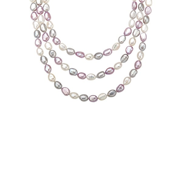 7 mm Multi-Color Pastel Freshwater Pearl Strand in Sterling Silver