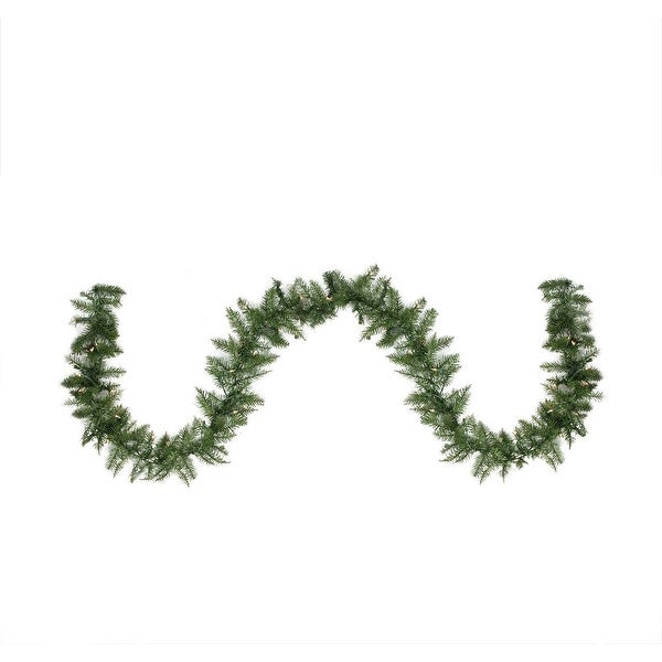 "9' x 10"" Pre-Lit Northern Pine Artificial Christmas Garland - Clear Lights - green"