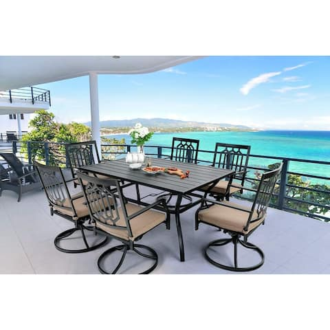 MFSTUDIO 7-Pcs Outdoor Dining Set: Steel Swivel Dining Chair with Cushion and 6-Person Umbrella Table