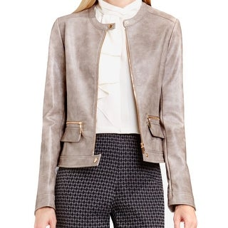 Vince Camuto NEW Gray Rose Women's Size Medium M Faux Leather Jacket