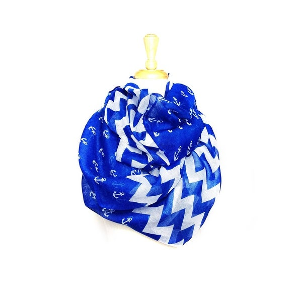 Women's Nautical Anchor Zigzag Chevron Infinity Scarf Light Weight - size:circumference 68 inches x 24 inches