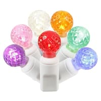 "Set of 50 Multi Color Commercial Grade LED G12 Berry Christmas Lights 6"" Spacing - White Wire"