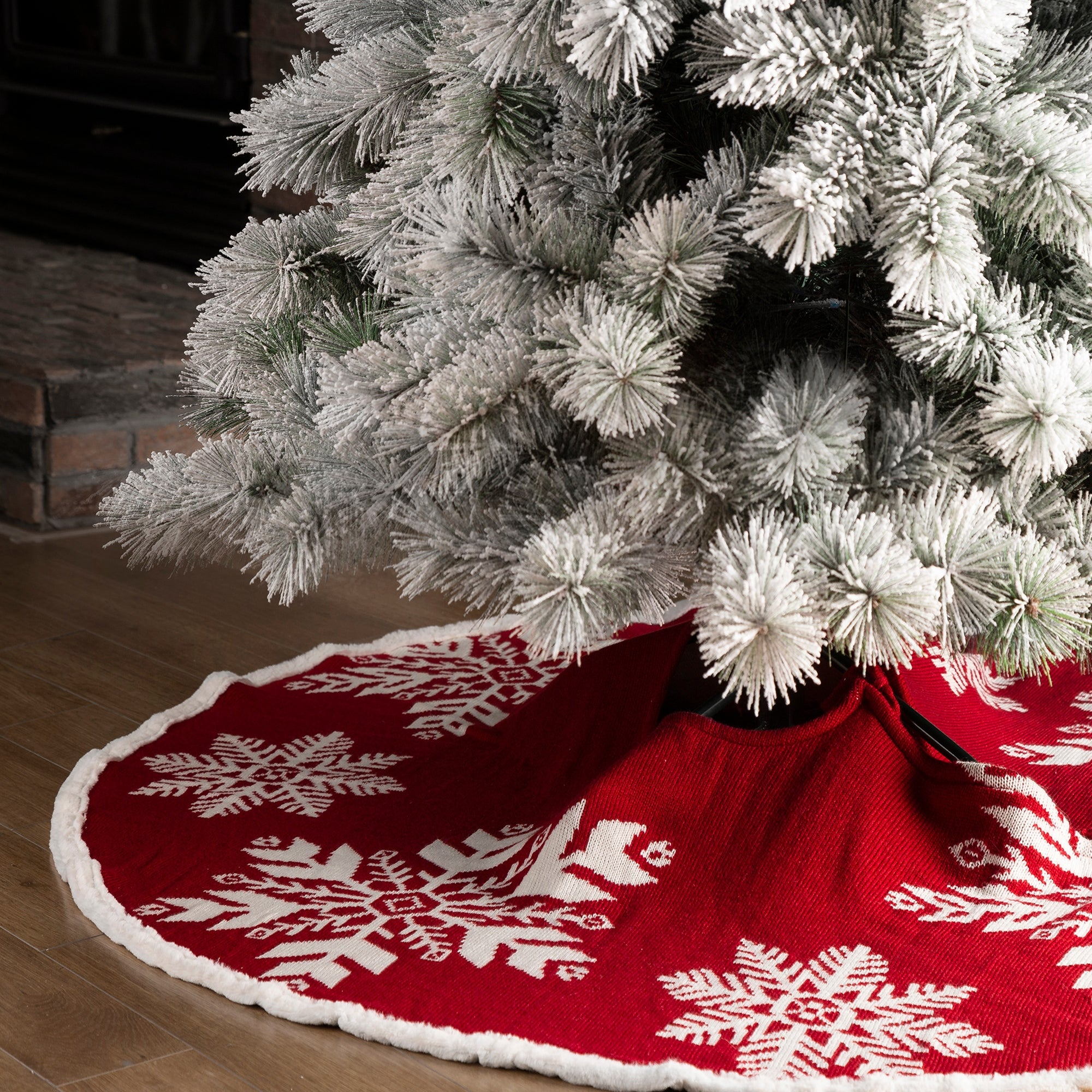 Country Rustic Xmas Decorations Meriwoods Christmas Tree Skirt 48 Inch Red White Large Embroidered Nutcracker Tree Collar Seasonal Decor Nutcrackers