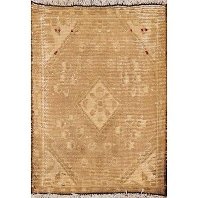 "Vintage Geometric Hamedan Persian Area Rug Hand-knotted Wool Carpet - 1'5"" x 1'11"""