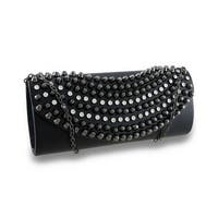 Rhinestone and Conical Studded Clutch Bag w/Removable Chain Strap
