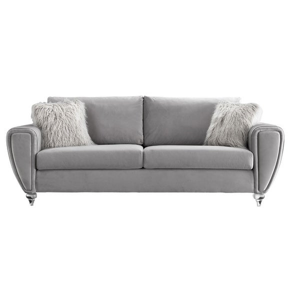 Fabric Sofa with Pleated Design Arms and Acrylic Turned Bun Feet, Gray. Opens flyout.