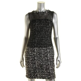 Bailey 44 Womens Jackie Boucle Mesh Inset Cocktail Dress