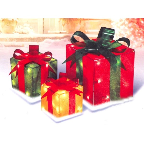 3-Piece Glistening Gift Box Lighted Christmas Outdoor Decoration