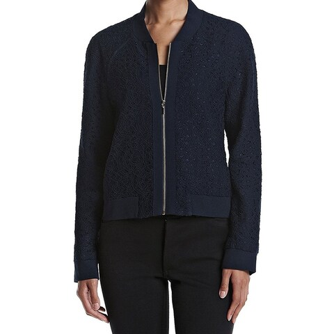 Tahari by ASL Blue Women's Size 16 Floral-Lace Bomber Jacket