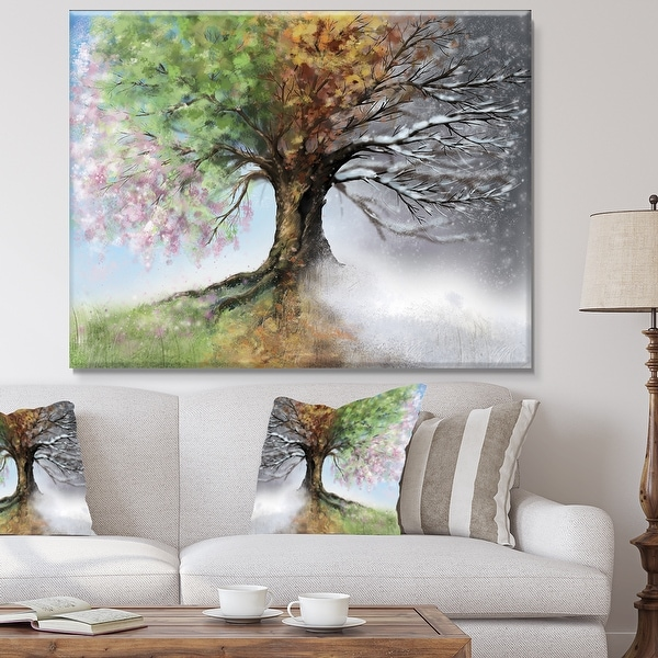 Tree with Four Seasons - Tree Canvas Art Print. Opens flyout.