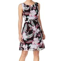 Connected Apparel Black Women's Size 16 Floral Belted Sheath Dress