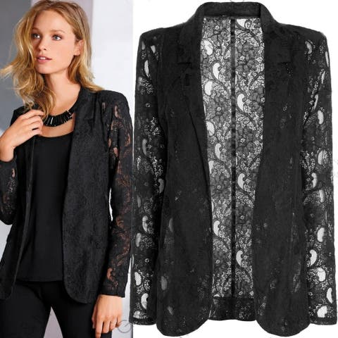 New Fashion Women''S Autumn Long Sleeve Lace Black Sexy Slim Fit Jacket