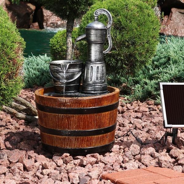 Sunnydaze Old Fashioned Water Pump and Barrel Solar-on-Demand Fountain - 23-Inch