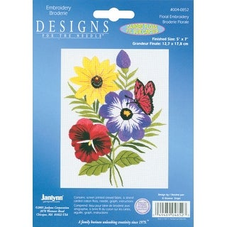 """Floral Embroidery Kit-5""""X7"""" Stitched In Floss"""