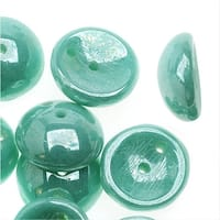 Piggy Beads, 2-Hole Czech Glass Spacers 8x3.5mm, 25 Pieces, Opaque Green Turquoise Hematite