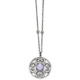 Chisel Stainless Steel Polished Synthetic Purple Calcedony with 2in ext. Circle Necklace - 30 in