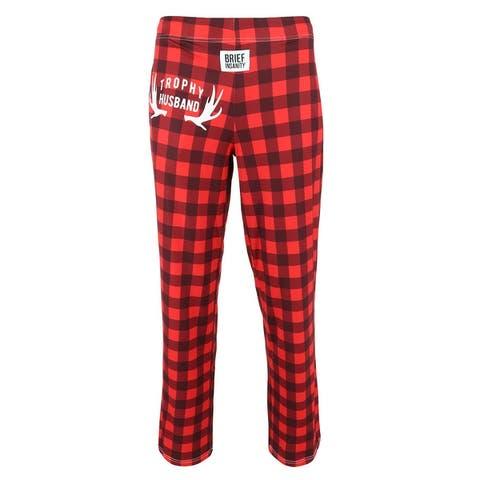Brief Insanity Men's Trophy Husband Buffalo Plaid Lounge Pajama Pants