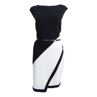 Sandra Darren Women's Colorblocked Sheath Dress (12, Black/Ivory) - Black/Ivory - 12