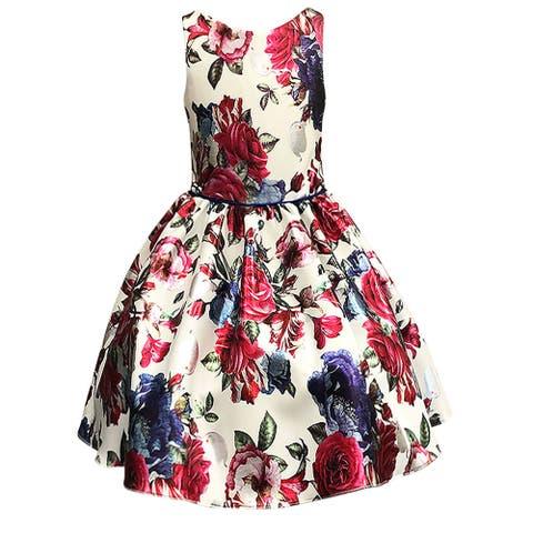 Petite Adele Ivory Silver Floral Sleeveless Flower Girl Dress Little Girls