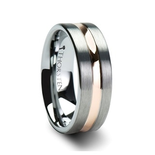 ZEUS Flat Brush Finished Tungsten Carbide Ring with Rose Gold Plated Groove
