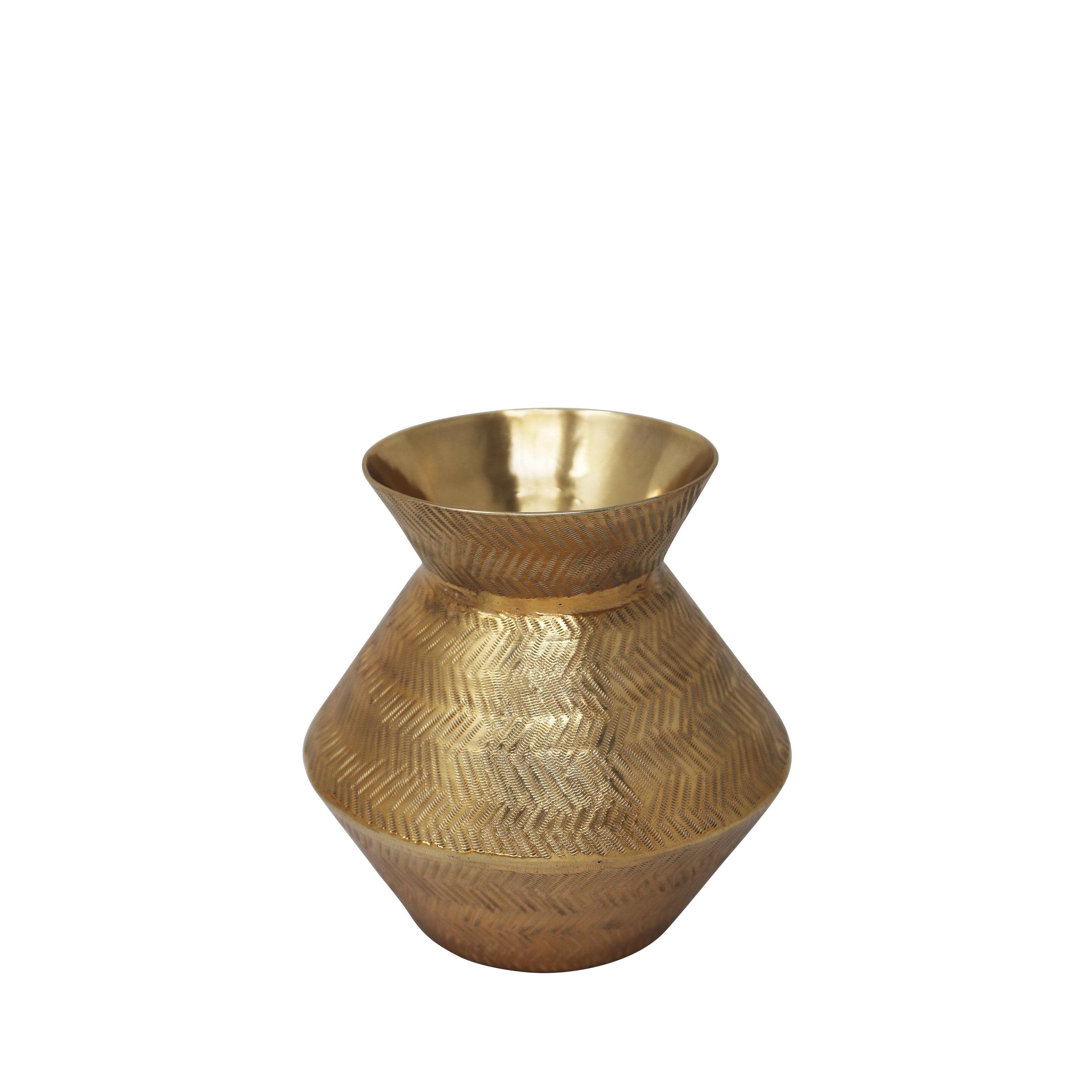 Aluminium Vase with Textured Details, Small, Gold