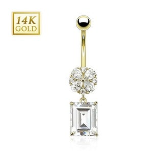 14 Karat Solid Yellow Gold Asscher Cut Square CZ Dangle with Flower Navel Belly Button Ring