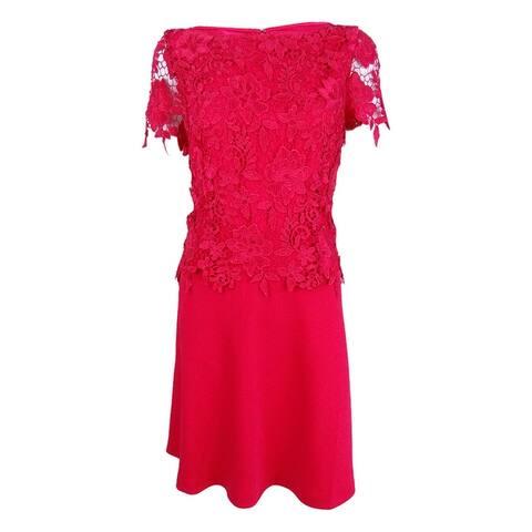 Tahari ASL Women's Lace Peplum A-Line Dress - Strawberry