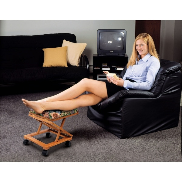 Footrest Adjustable Fold A Way Tapestry   Rolling Ottoman