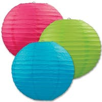 """Club Pack of 18 Round Green, Blue and Pink Hanging Paper Lanterns 9.5"""""""