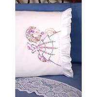 "Carousel Lady - Stamped Ruffled Edge Pillowcases 30""X20"" 2/Pkg"