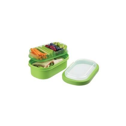 Progressive Prep Solutions 3-Compartment Handheld Bento Box - Green