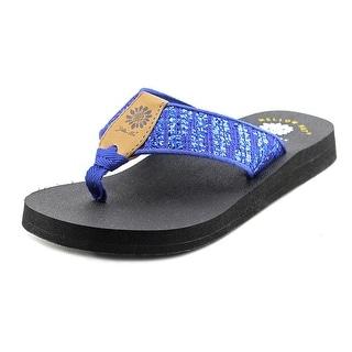 Yellow Box Mercedes Women  Open Toe Canvas Blue Thong Sandal