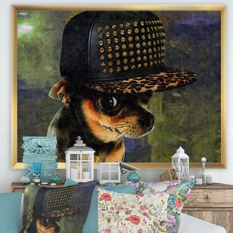 Designart 'Chihuahua With Hat' Cottage Framed Art Print