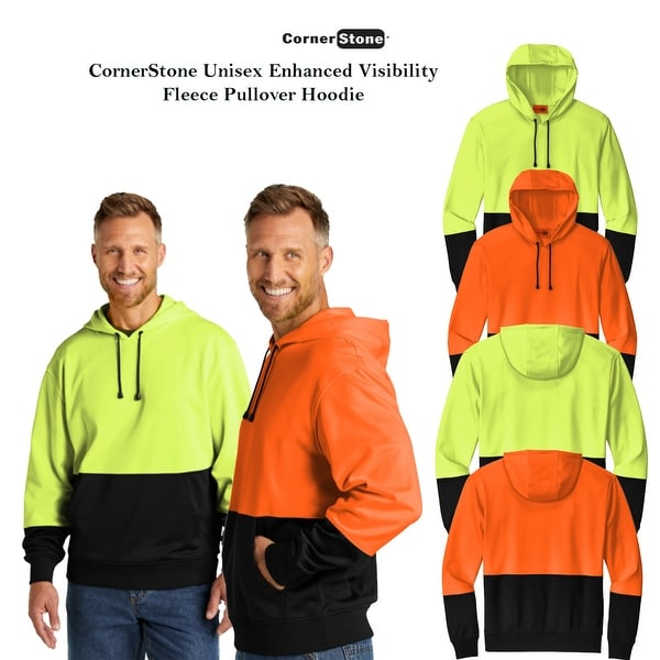 CornerStone Unisex Enhanced Visibility Fleece Pullover Hoodie. Opens flyout.