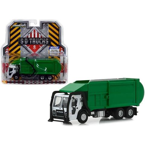 2019 Mack LR Refuse Garbage Truck White and Green S.D. Trucks Series 6 1/64 Diecast Model by Greenlight