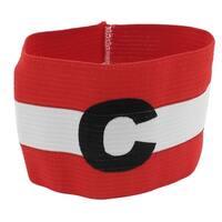 Unique Bargains Outdoor Red White Terylene Elastic Fabric Team Game Football Captain Armband