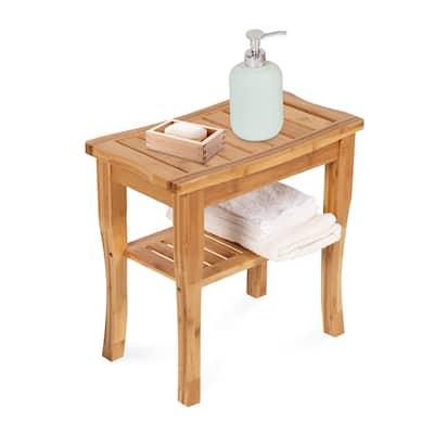 Kinsunny Bamboo Shower Bench Spa Bath Shower Stool With Shelf Shower Bath Seats