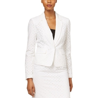 Nine West Womens One-Button Blazer Eyelet Pattern