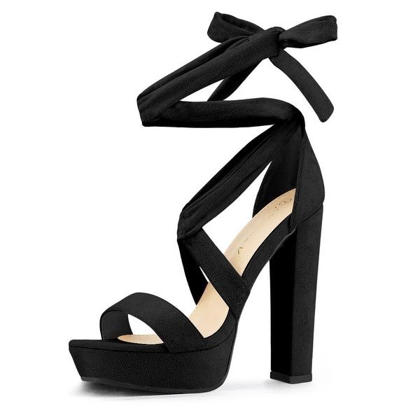 suede lace up platform heels