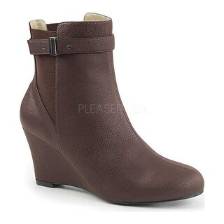 Pleaser Pink Label Women's Kimberly 102 Wedge Bootie Brown Faux Leather