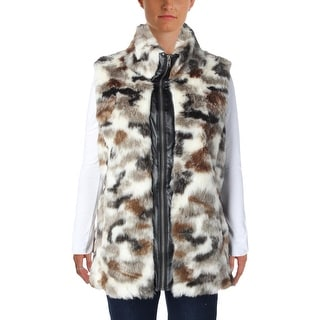 Sioni Womens Outerwear Vest Faux Fur Printed
