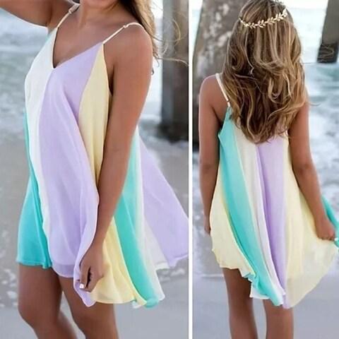 Beach Holiday Rainbow Dress +FREE SUMMER NECKLACE